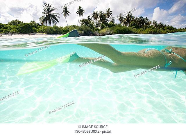 Woman snorkeling, Kadhdhoo Island, Laamu Atoll, Maldives