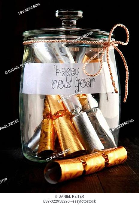 Rolled Wrapping Foils Christmas cracker in a Jar with Happy New Year