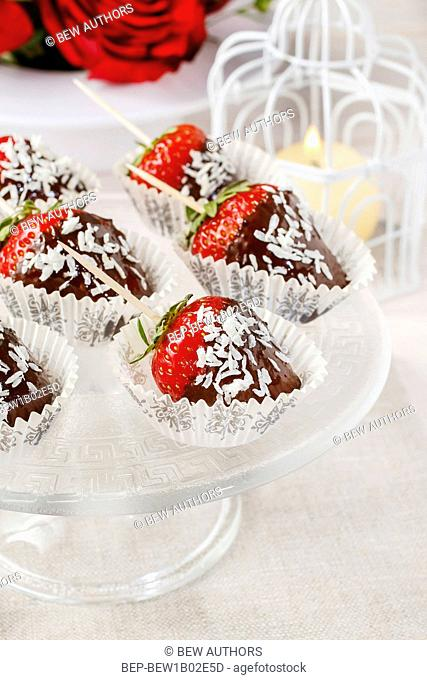 Chocolate dipped strawberries. Party dessert