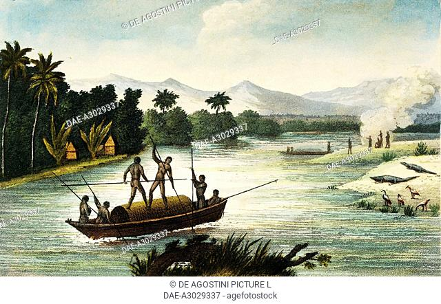 The Magdalena River, Colombia, engraving by Paul Legrand from Travels in the Republic of Colombia in the years 1822 and 1823