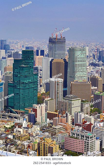 General view of the city skyline of Tokyo with high rise office buildings and skyscrapers, Tokyo, Japan