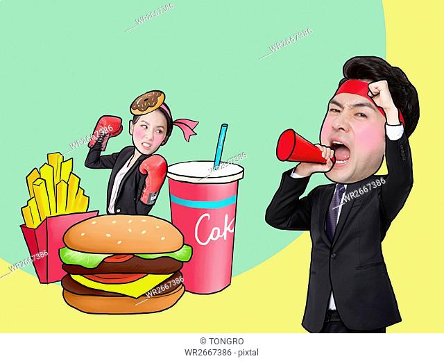 Man and woman demonstrating against fast food