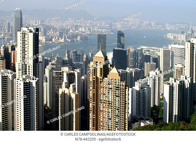 Skyscrapers in Hong Kong Island as seen from Victoria Peak. New territories on the other river bank. Hong Kong. China