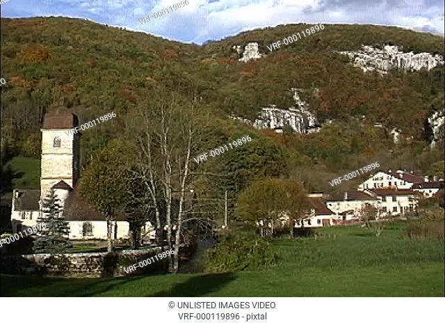 Village in fall Jura