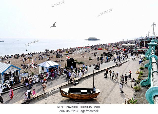 Brighton beach in summer, England, UK