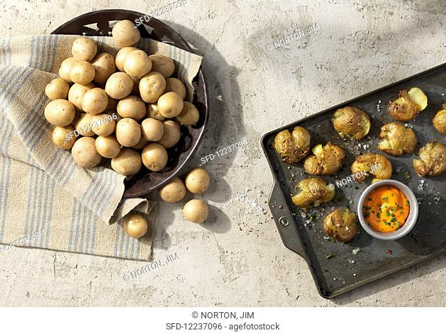 'Lady Bianca' potatoes, raw and fresh from the oven, served with a dip