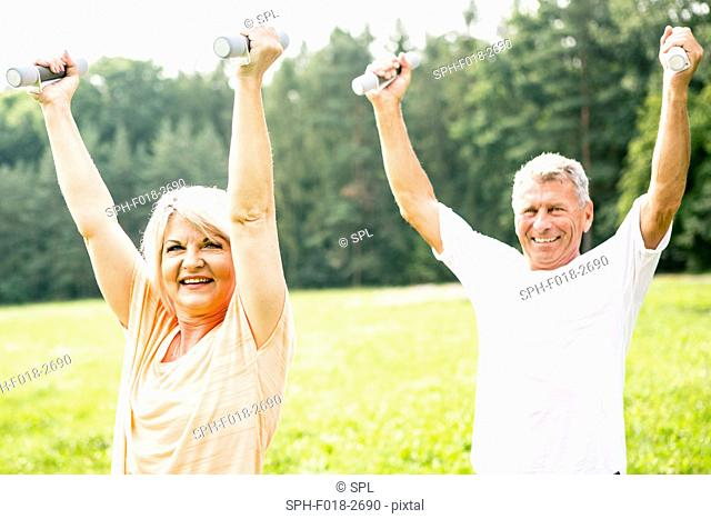 MODEL RELEASED. Mature couple exercising with hand weights in field