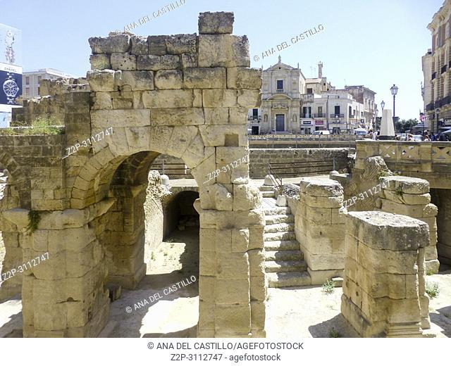Roman ruines in Lecce on July 13, 2018 Puglia Italy