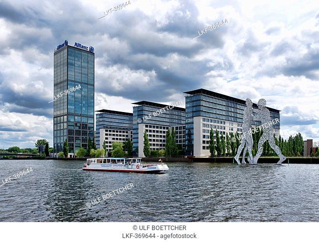 Spree, Excursion Boat, Molecule Man of Jonathan Borofsky, Allianz AG, Friedrichshain, Berlin, Germany