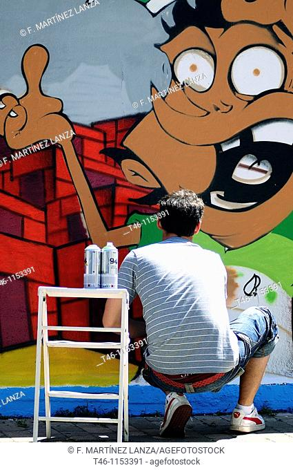 Graffiti Artist in the street