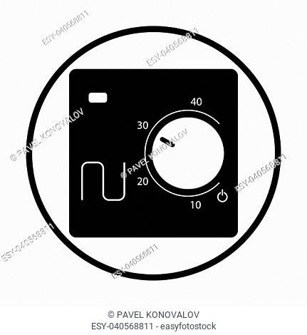 Warm floor wall unit icon. Thin circle design. Vector illustration