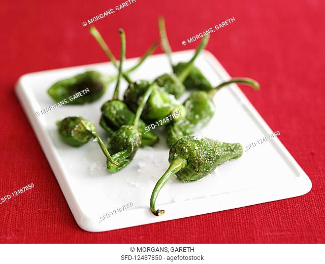 Pimientos de padron (roasted green peppers, Spain)