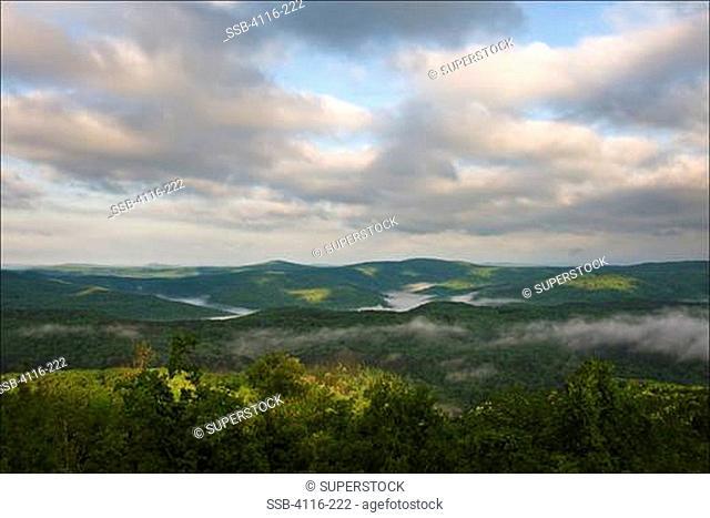 Fog over landscape, Ozark Mountains, Ozark National Forest, Arkansas, USA