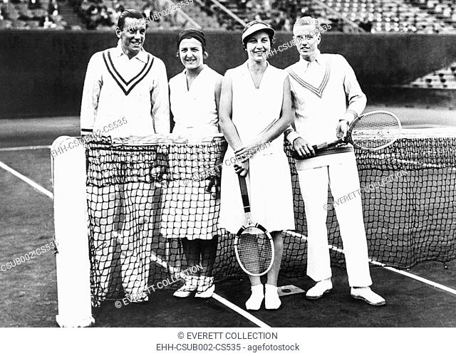 Fred Perry and Betty Nuthall (left) of Britain won the French Mixed Doubles Championship. June 7, 1932. They defeated Americans Helen Wills Moody and Sidney...