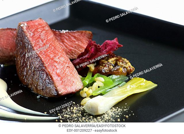 delicious fillet of beef with mixed vegetables