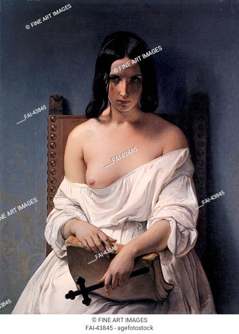 Meditation by Hayez, Francesco (1791-1882)/Oil on canvas/Romanticism/1851/Italy, Milanese school/Galleria d'Arte Moderna Achille Forti/Genre/Painting/Meditation...