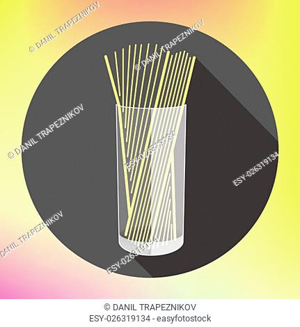 spaghetti in glass flat long shadow style vector icon. Modern flat pictogram. Pasta in cup flat symbol. spaghetti sign