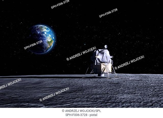 Apollo Moon landing. Computer artwork of the original Apollo mission lunar lander on the Moon