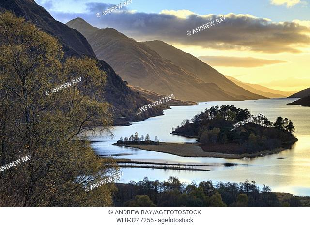 Loch Shiel captured shortly before sunset in early November from a high vantage point above the Glenfinnan Monument and Visitor Centre