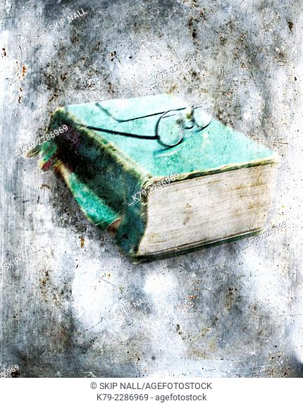 An old book with a pair of glasses sitting on it appears to be encased in ice