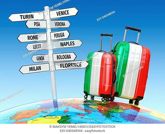 Travel concept. Suitcases and signpost what to visit in Italy. 3d