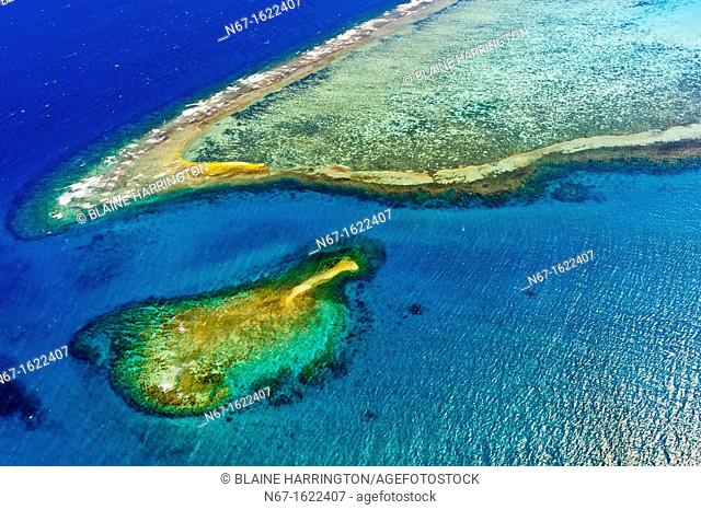 Aerial view, New Caledonia Barrier Reef a UNESCO World Heritage site, near Noumea, New Caledonia