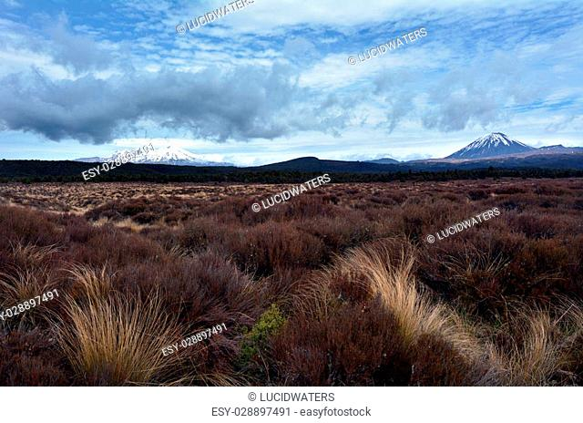 NATIONAL PARK, NZ - NOV 25 2014:Mount Tongariro and Mount Ngauruhoe in Tongariro National Park.It's the oldest national park in New Zealand