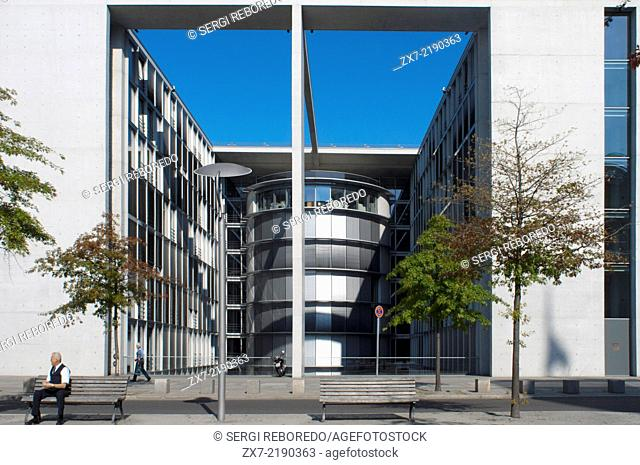 Paul Loebe House, Germany, Berlin. The glass-and-concrete Paul-Löbe-Haus houses offices for the Bundestag's parliamentary committees