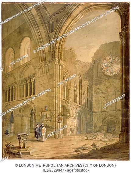 Church of St Bartholomew-the-Great, Smithfield, City of London, 1806. View showing part of the choir and remains of the south transept