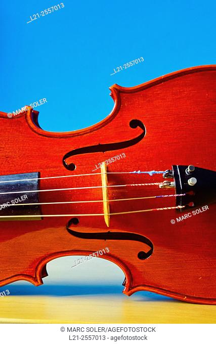 Close up of a violin, musical instrument, music