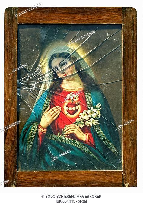Portrait of the Madonna, broken glass, symbolic