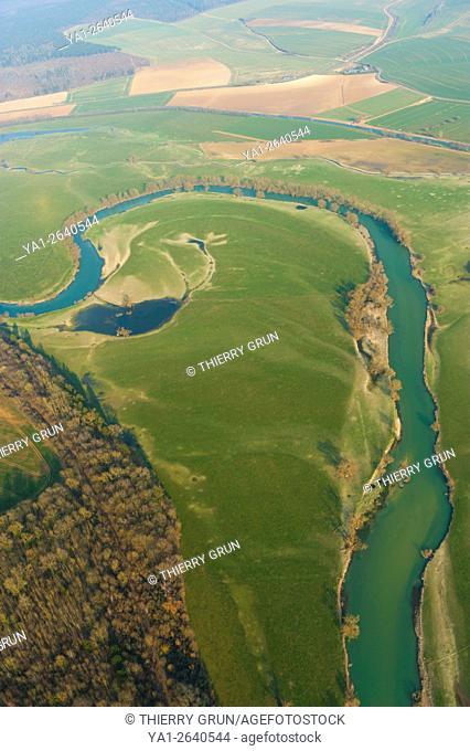 France, Meuse (55), Regneville sur Meuse, Meuse river (aerial view)