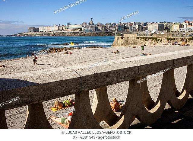 Riazor beach, Coruña city, Galicia, Spain