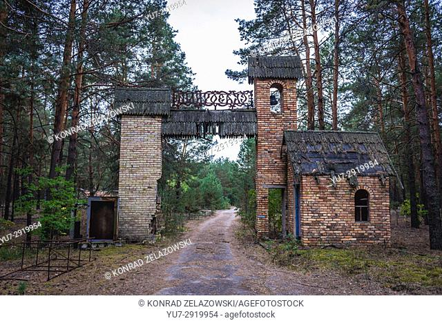 Gate of summer recreation camp in Chernobyl Nuclear Power Plant Zone of Alienation area around nuclear reactor disaster in Ukraine