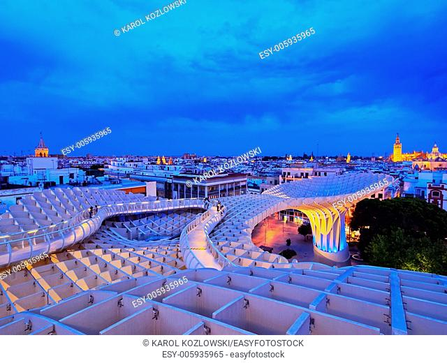 Night view of Metropol Parasol on La Encarnacion Square in Seville, Andalusia, Spain