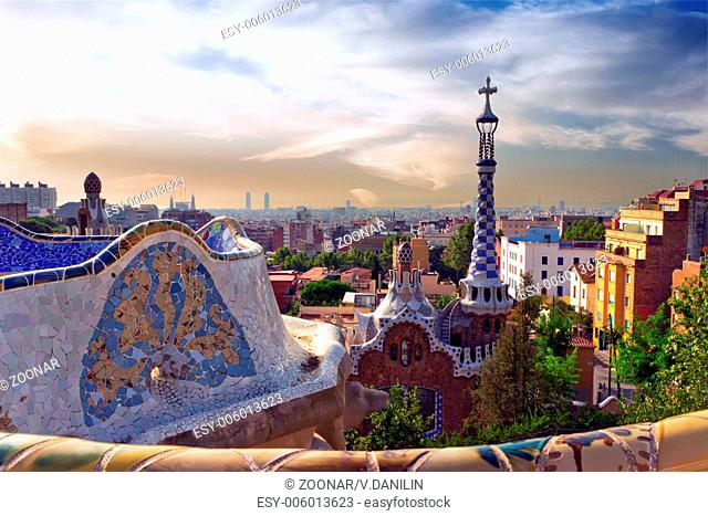 Antonio Gaudi in Park Guell. Barcelona landmark, Spain