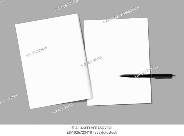 Blank magazine covers and pen template on gray background. Back and front. Responsive design template. Blank mock-up for your design