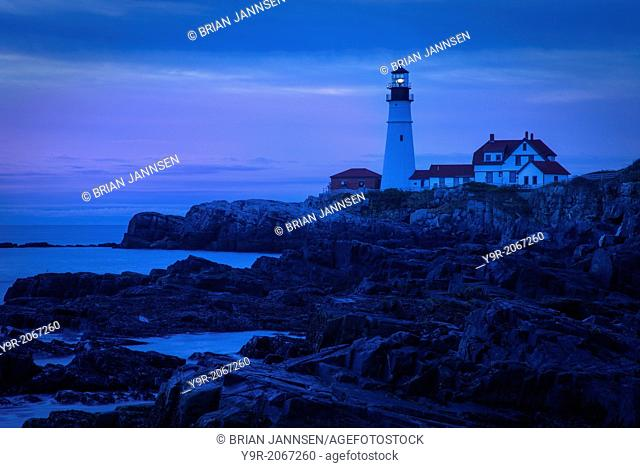 Early morning along the rocky cliffs below the Portland Head Lighthouse near Portland Maine, USA