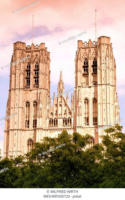 Belgium, Brussels, view to Cathedral of St Michael and St Gudula at evening twilight