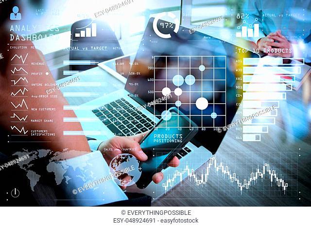 Intelligence (BI) and business analytics (BA) with key performance indicators (KPI) dashboard concept. Businessman making presentation using smart phone with...