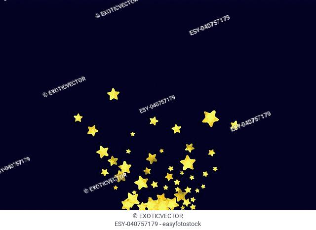 Star confetti on black background. Falling magic particles. Celebration card template with watercolor flying gold elements