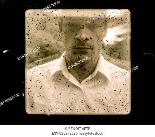 Old Vintage Farmer Portrait using a dusty Camera
