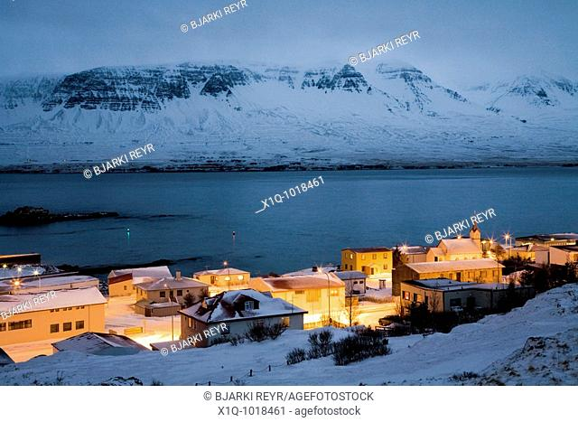 View over Vopnafjordur at dusk during winter, East Iceland  Vopnafjordur hopes to service the oil industry if oil is found underwater in the Dreki area