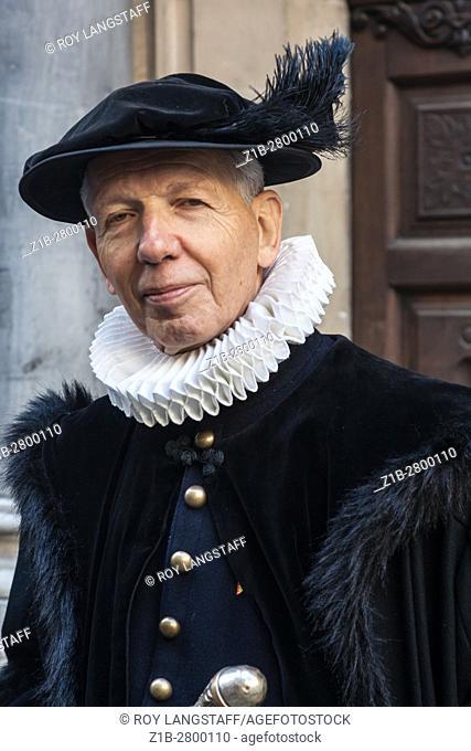 Refined gentleman dressed in period costume for Escalade in Geneva