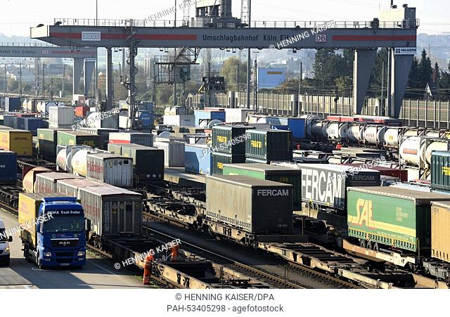 Freight trains and trucks are parked at the Eifeltor reloading station in Cologne, Germany, 06 November 2014. Germany's train drivers' union 'Gewerkschaft...