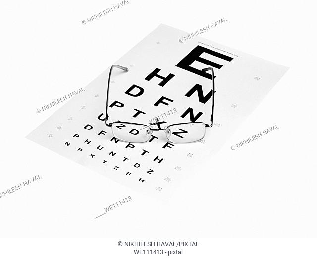 Spectacles on Snellen eye test chart