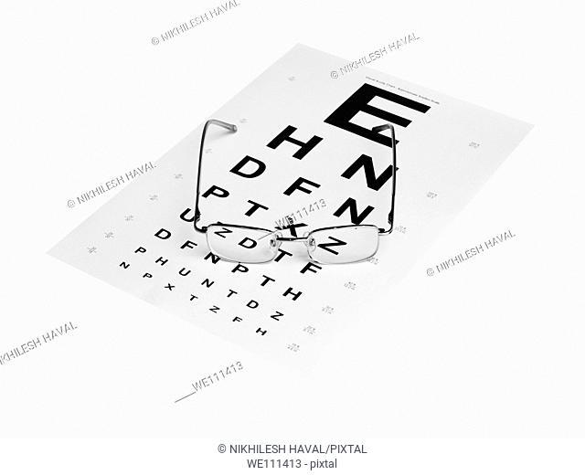 Spectacles on Snellen eye test chart