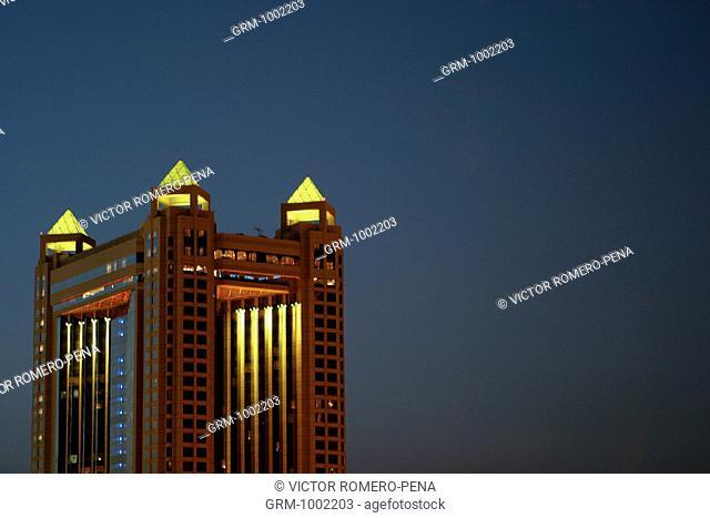 Fairmont hotel at night, Dubai, UAE
