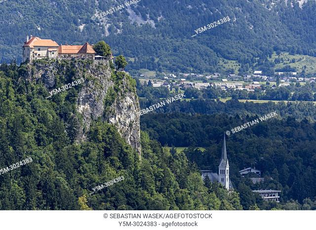 Bled Castle seen from Ojstrica, Upper Carniola, Slovenia, Europe