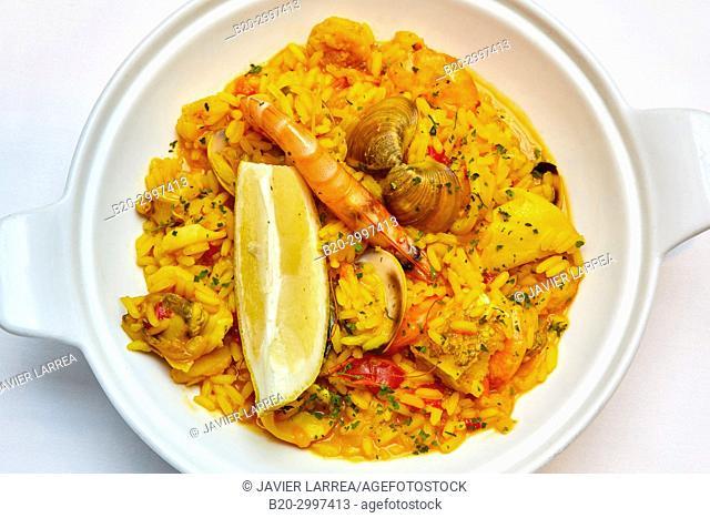 seafood paella, Restaurante Bar Virginia Mendibil Menus & Fast Good, Irun, Gipuzkoa, Basque Country, Spain